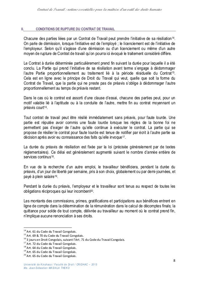 Du Contrat De Travail Notions Pour La Maitrise D Un Outil Des Droit