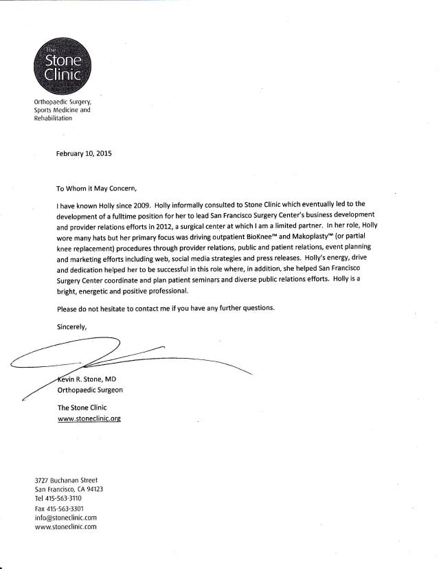 Surgery Letter Of Recommendation Sample