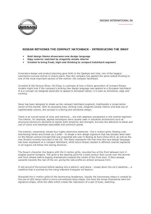 NISSAN INTERNATIONAL SA RETHINKS THE COMPACT HATCHBACK