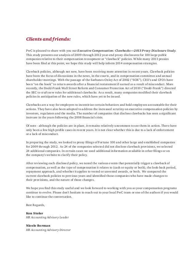 Pwc Clawbacks 2013 Proxy Disclosure Study