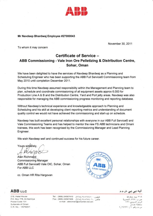 Certificate of service vale commissioning - Dive jump reporting system ...