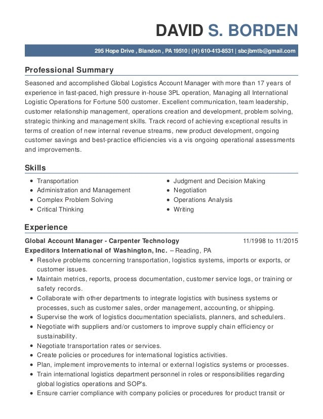 Professional Summary Skills Experience DAVID S. BORDEN 295 Hope Drive , Blandon , PA 19510   (H) 610-413-8531   sbcjbmtb@g...