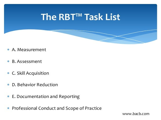 RBT Task List Study Guide Flashcards - Cram.com