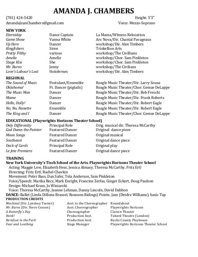 amanda chambers theater resume