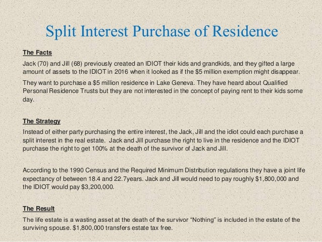 Split Interest Purchase of Residence The Facts Jack (70) and Jill (68) previously created an IDIOT their kids and grandkid...