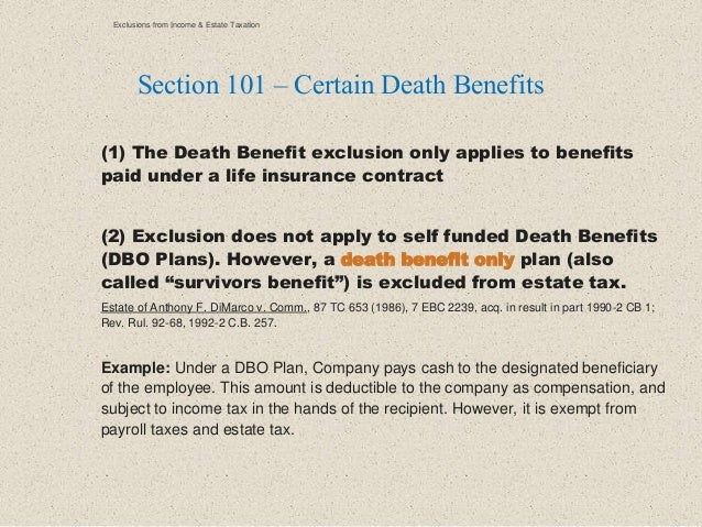 (1) The Death Benefit exclusion only applies to benefits paid under a life insurance contract (2) Exclusion does not apply...