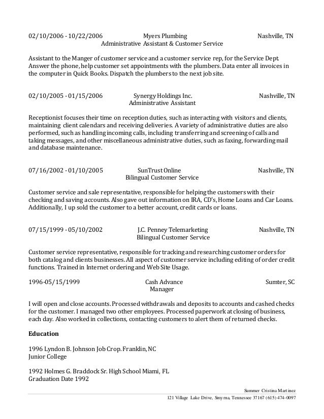 Bilingual Customer Service Long Resume
