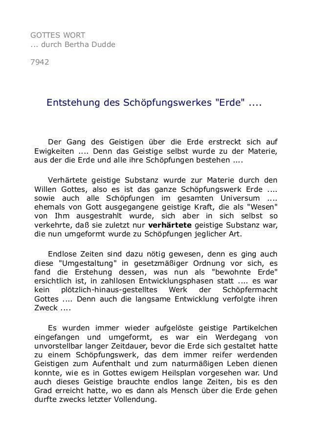 """GOTTES WORT ... durch Bertha Dudde 7942 Entstehung des Schöpfungswerkes """"Erde"""" .... Der Gang des Geistigen über die Erde e..."""