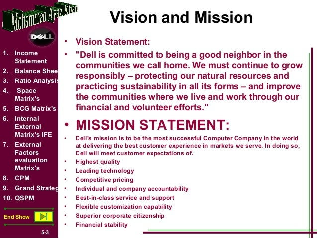 dell vision mission statement essay An analysis of lenovo's mission and vision statements lenovo mission and vision: an ( notes and essays on cheshnotes are based on online resources.