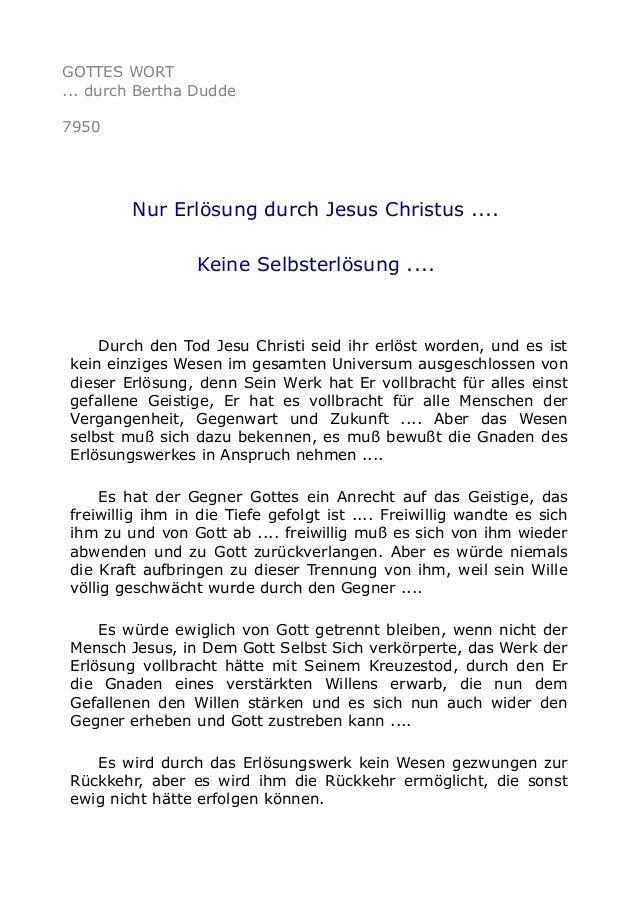 GOTTES WORT ... durch Bertha Dudde 7950 Nur Erlösung durch Jesus Christus .... Keine Selbsterlösung .... Durch den Tod Jes...