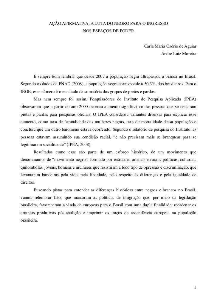 AÇÃO AFIRMATIVA: A LUTA DO NEGRO PARA O INGRESSO                                  NOS ESPAÇOS DE PODER                    ...