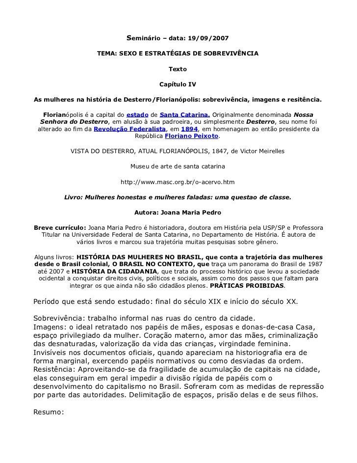 Seminário – data: 19/09/2007                     TEMA: SEXO E ESTRATÉGIAS DE SOBREVIVÊNCIA                                ...