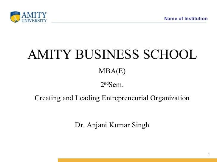 AMITY BUSINESS SCHOOL  MBA(E) 2 nd Sem. Creating and Leading Entrepreneurial Organization Dr. Anjani Kumar Singh