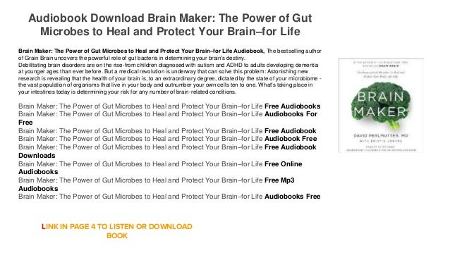 Audiobook Download Online Free Brain Maker: The Power of Gut