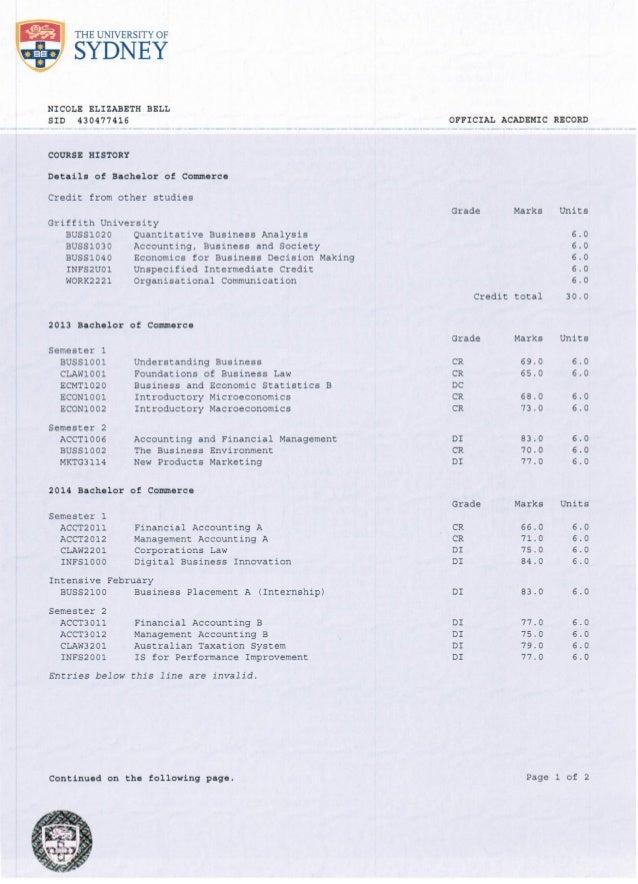 Bell Academic Transcript - University of Sydney