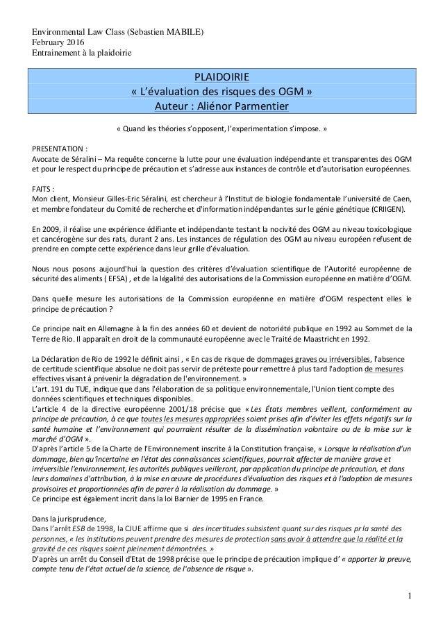 Environmental Law Class (Sebastien MABILE) February 2016 Entrainement à la plaidoirie 1 PLAIDOIRIE   «  L'évaluation ...