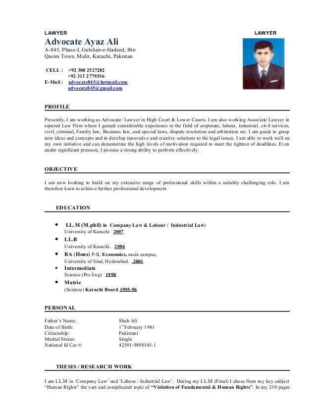 cv of advocate ayaz ali