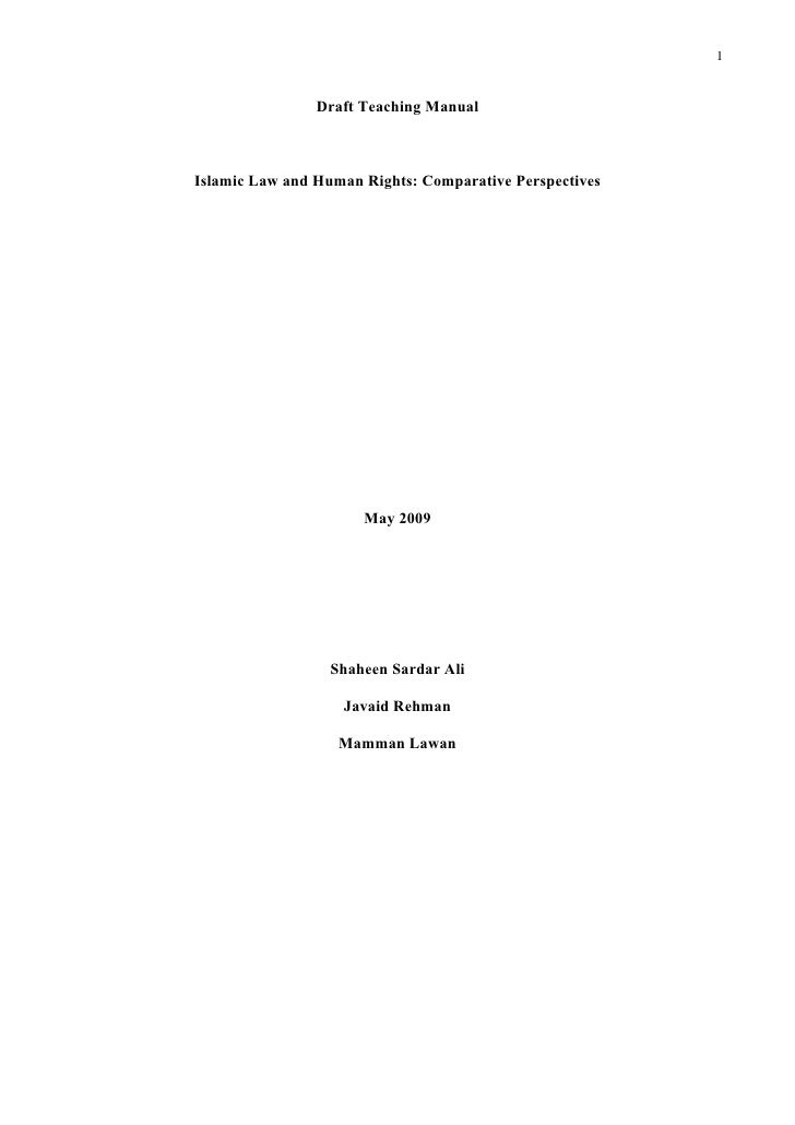 1                Draft Teaching ManualIslamic Law and Human Rights: Comparative Perspectives                      May 2009...