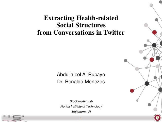 Extracting Health-related Social Structures from Conversations in Twitter Abduljaleel Al Rubaye Dr. Ronaldo Menezes BioCom...