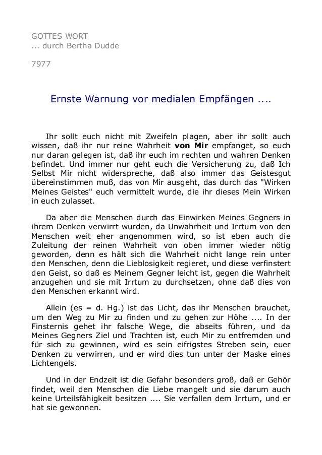GOTTES WORT ... durch Bertha Dudde 7977 Ernste Warnung vor medialen Empfängen .... Ihr sollt euch nicht mit Zweifeln plage...