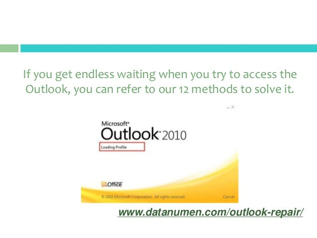 microsoft outlook still loading profile