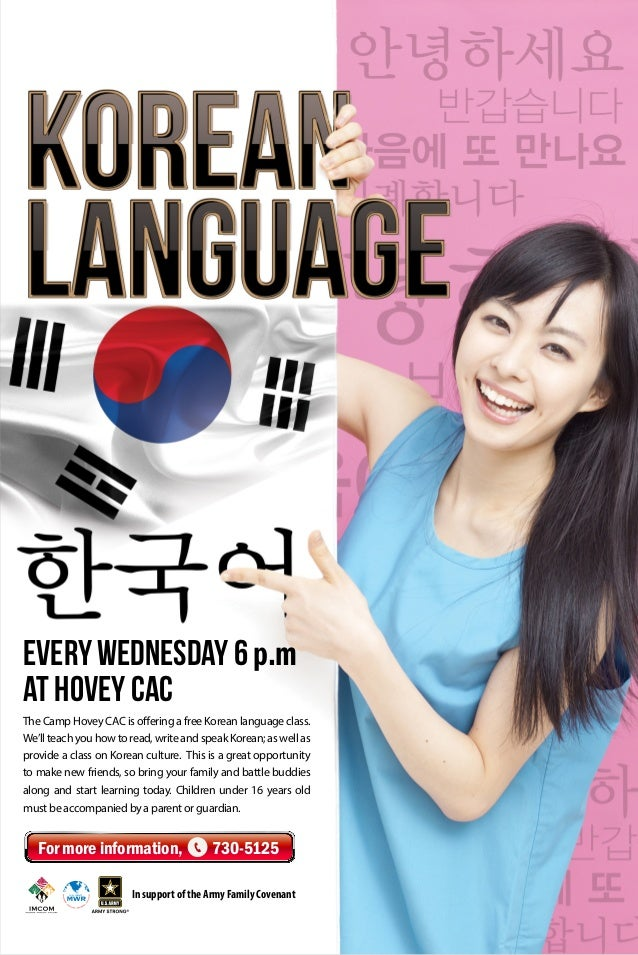 The Camp Hovey CAC is offering a free Korean language class. We'llteachyouhowtoread,writeandspeakKorean;aswellas provide a...