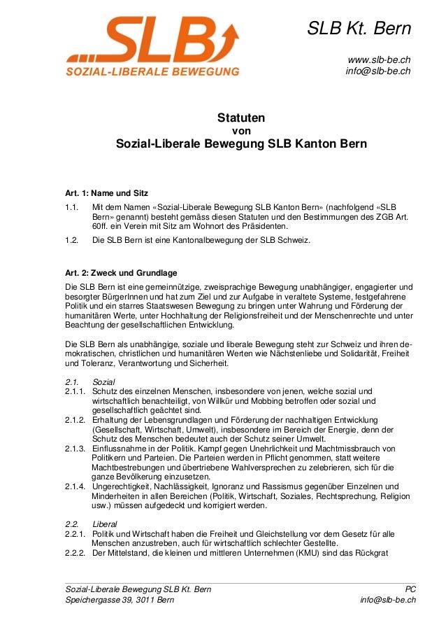 Sozial-Liberale Bewegung SLB Kt. Bern PC Speichergasse 39, 3011 Bern info@slb-be.ch SLB Kt. Bern www.slb-be.ch info@slb-be...