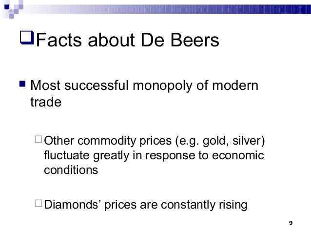 debeers case analysis In 1871 the brothers johannes nicholas and diederik arnoldus de beer sold their farm which they had bought in 1860 for £50, to dunell ebden & co for £6,300 this farm was to be the site of both the de beers mine and the famous kimberley mine rhodes acquired the farm in the late  de beers case.