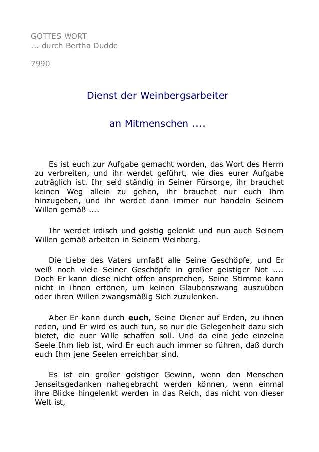 GOTTES WORT ... durch Bertha Dudde 7990 Dienst der Weinbergsarbeiter an Mitmenschen .... Es ist euch zur Aufgabe gemacht w...