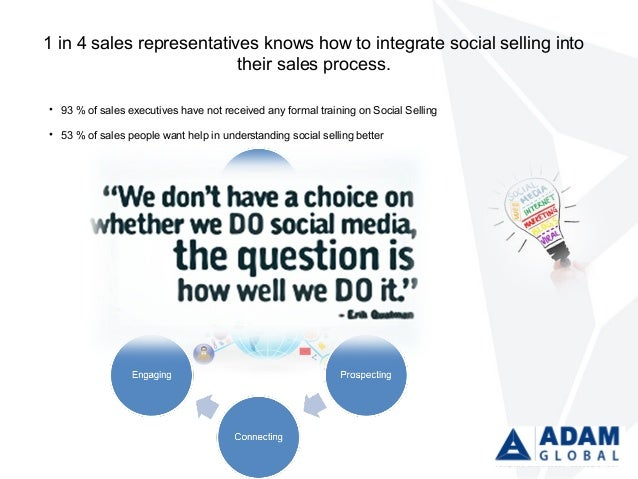 1 in 4 sales representatives knows how to integrate social selling into their sales process. • 93 % of sales executives ha...