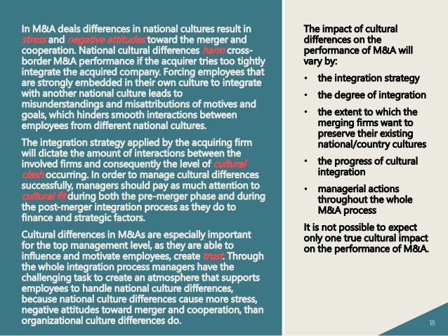 integration of cultural differences on mergers Relationships between culture and performance can be identified  such as  merger, acquisition, national culture, corporate culture, integration, cross-border.