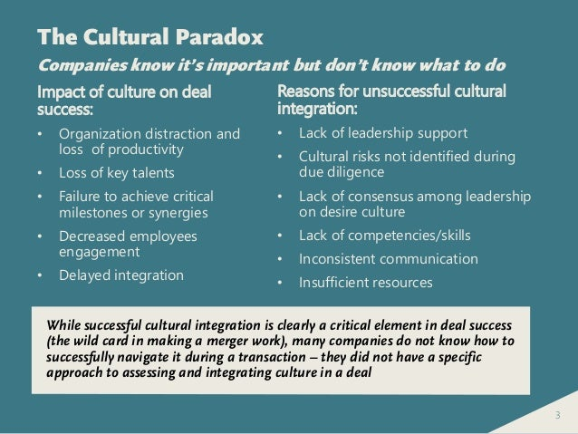"integration of cultural differences on mergers Cultural clashes in a ""merger of equals"": the case  cultural integration and to detect changes in  cultural differences in mergers of equals."