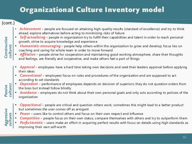 organizational culture inventory Current culture according to the organizational culture inventory, the primary style of l'occitane is approval, dependent, competitive, and perfectionistic l'occitane is a retail company that sells high-end beauty products.
