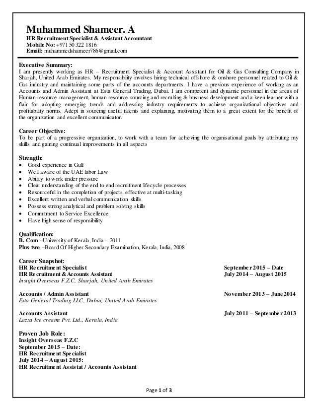 Muhammed shameer cv hr recruitment assistant accountant a hr recruitment specialist assistant accountant mobile no yelopaper Images