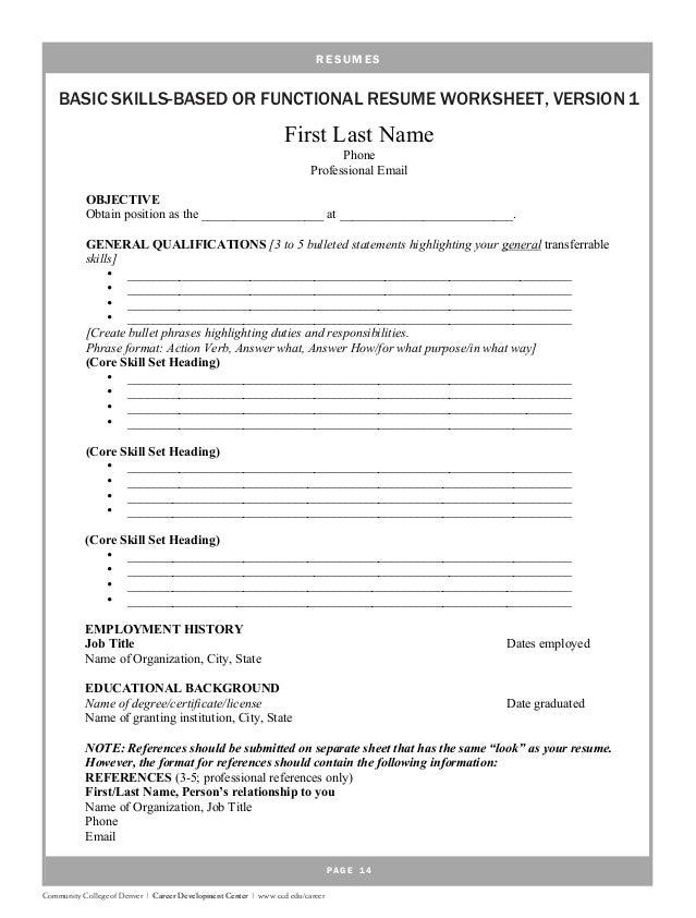 functional resume worksheets pdf functional resume worksheets