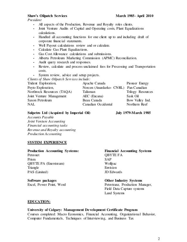Stunning Production Accounting Resume In Calgary Gallery - Best ...