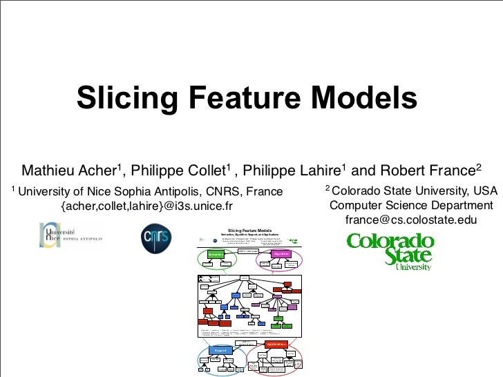 Slicing Feature Models  Mathieu Acher1, Philippe Collet1 , Philippe Lahire1 and Robert France21 University                ...