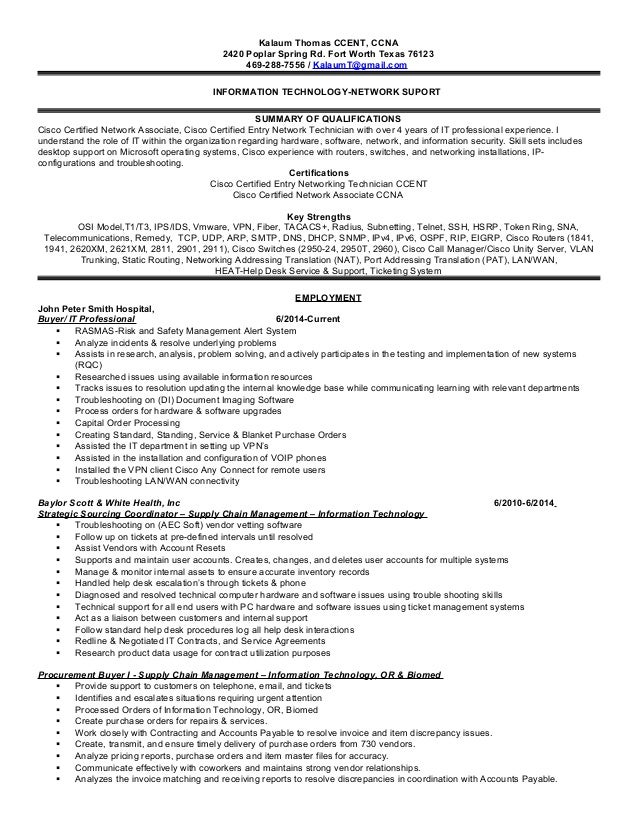 resume for network support