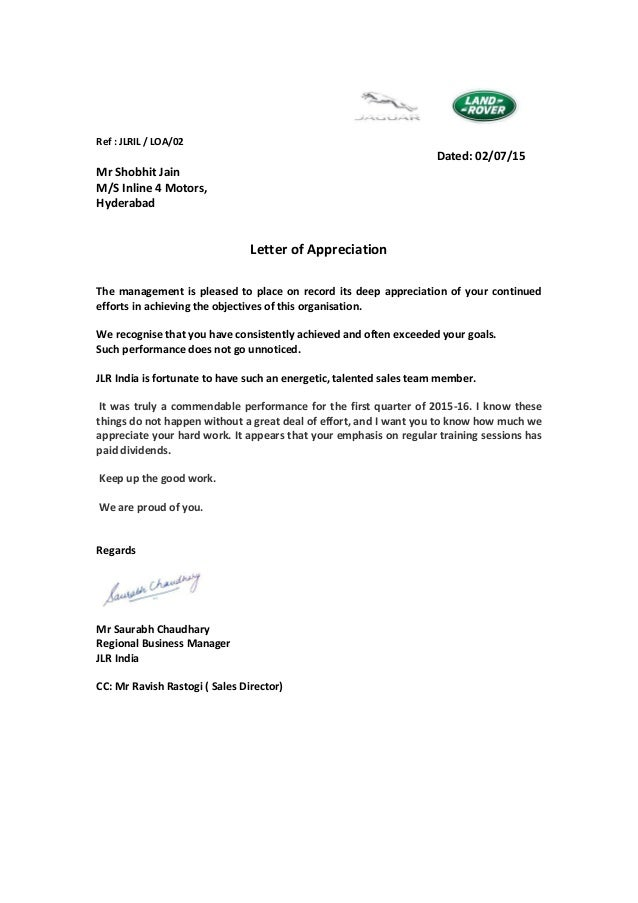 Letter Of Appreciation Jaguar