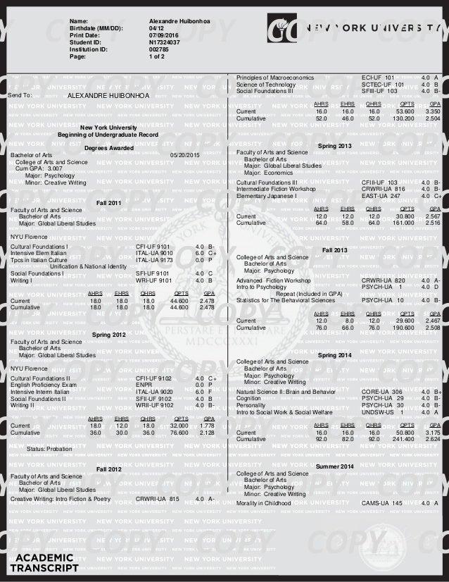 www.registrar.nyu.edu Elizabeth Kienle-Granzo University Registrar OFFICE OF THE UNIVERSITY REGISTRAR FICE School Code: 00...