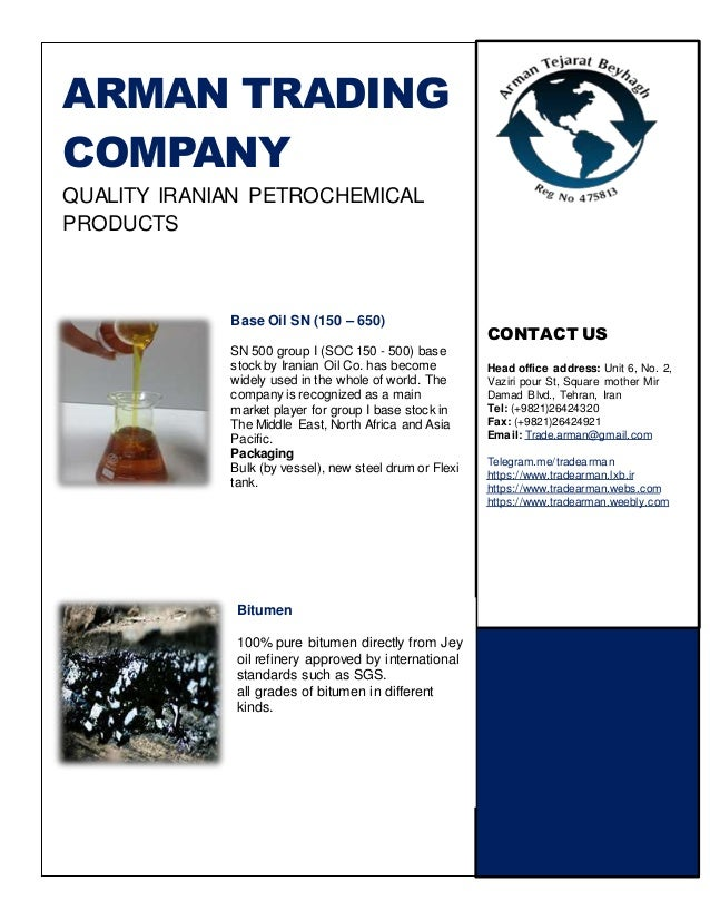 Brochure arman trading company for Trading group
