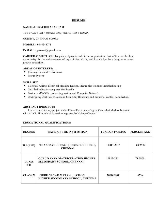 sachin resume for eee in chennai address 1