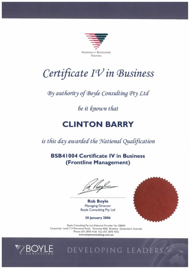 Certificate 4 In Business Management