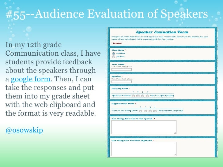 79 interesting waystousegoogleformsinthe – Speaker Feedback Form