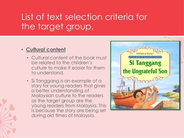 List of text selection criteria for the target group. • Interest • During this age, boys and girls does not share the same...