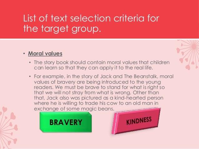 CHILDREN'S LITERATURE: TEXT SELECTION CRITERIA