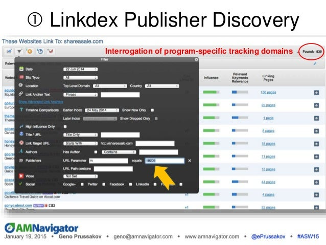 Interrogation of program-specific tracking domains  Linkdex Publisher Discovery