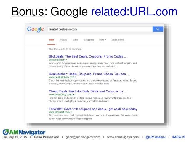 Bonus: Google related:URL.com