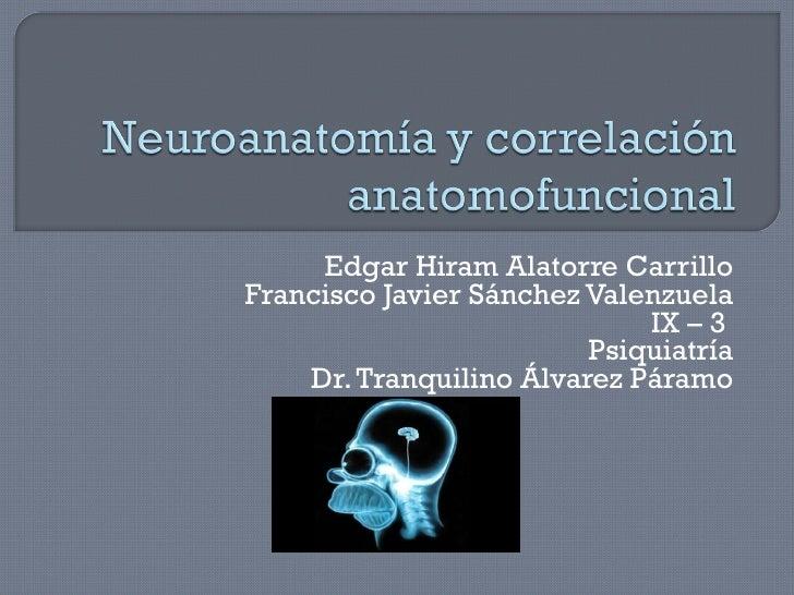 Edgar Hiram Alatorre Carrillo Francisco Javier Sánchez Valenzuela IX – 3  Psiquiatría Dr. Tranquilino Álvarez Páramo