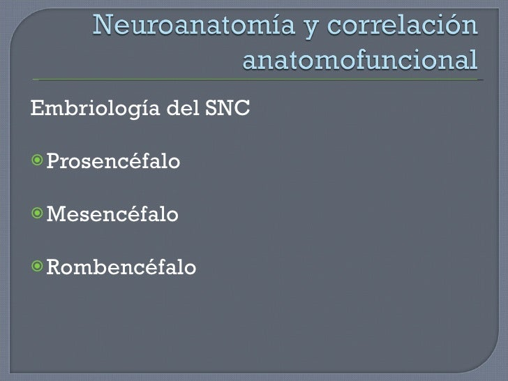 <ul><li>Embriología del SNC </li></ul><ul><li>Prosencéfalo </li></ul><ul><li>Mesencéfalo </li></ul><ul><li>Rombencéfalo </...